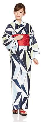 N. (エヌナチュラルビューティーベーシック) - [夏日記] 藍衣浴衣5点セット(浴衣/結び帯/下駄/こしひも1本/専用収納袋) すぐに出かけられる嬉しいフルセット 2018年モデル レディース 紺 日本 F (FREE サイズ)