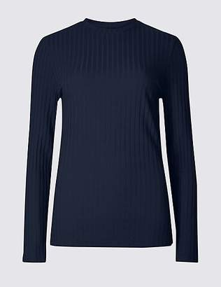 M&S Collection Cotton Blend Textured Long Sleeve Top