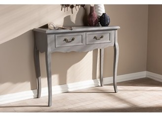 Baxton Studio Capucine Antique French Country Cottage Grey Finished Wood 2-Drawer Console Table