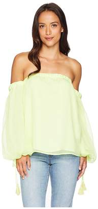 Vince Camuto Off-Shoulder Bubble Sleeve Sheer Stripe Blouse Women's Blouse