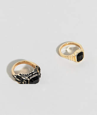Uncommon Souls chunky black stone ring pack