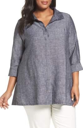 Foxcroft Chambray Linen Tunic Shirt