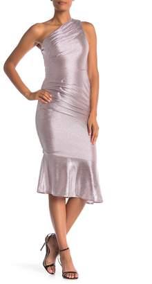 Rachel Roy One Shoulder Metallic Foil Dress