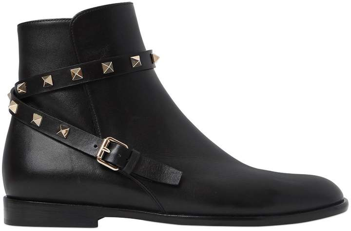 20mm Rockstud Leather Ankle Boots