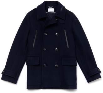 Lacoste Men's Mid-Length Wool Jersey Pea Coat