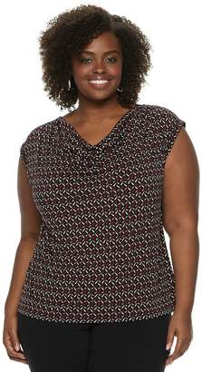 Dana Buchman Plus Size Travel Anywhere Print Cowlneck Top