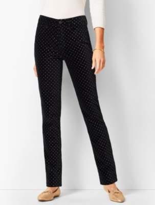 Talbots High-Rise Straight-Leg Velveteen Pants - Dot
