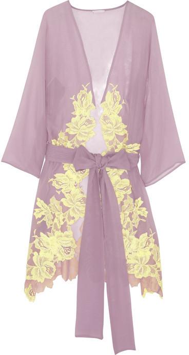 Rosamosario Sei La Mia Fragola lace-appliquéd silk-georgette robe