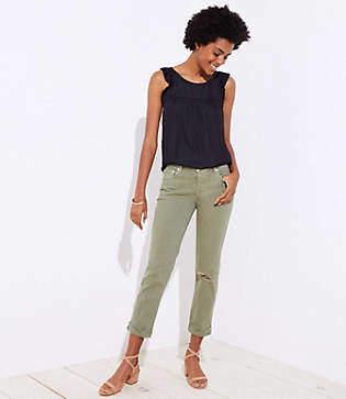LOFT Tall Distressed Boyfriend Jeans in Olive