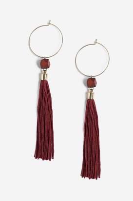 Topshop Wood Tassel Drop Earrings