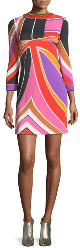Emilio Pucci Embroidered Abstract-Print Minidress