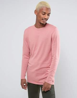Asos DESIGN Longline Cotton Sweater In Pink