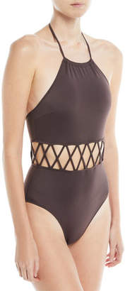 Solid and Striped Barbara High Halter Lattice Cutout One-Piece Swimsuit