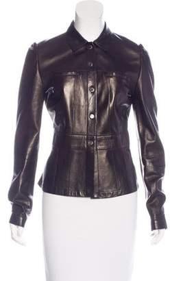 Prada Leather Button-Up Jacket