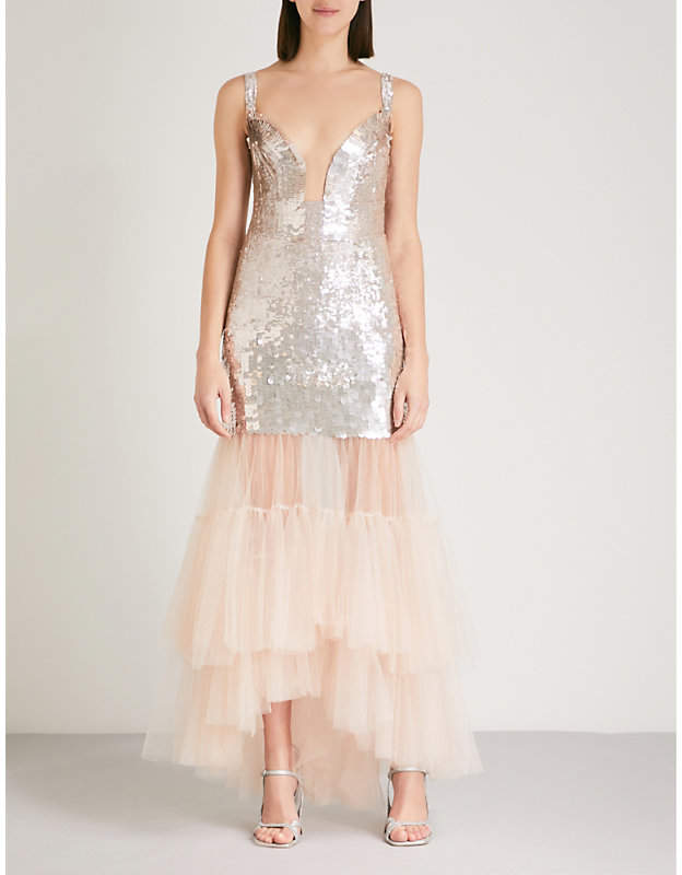 Bardot sequinned and tulle dress