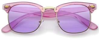 sunglass.la Colorful Transparent Horn Rimmed Tinted Lens Half-Frame Sunglasses 49mm (Purple-Gold / Purple)