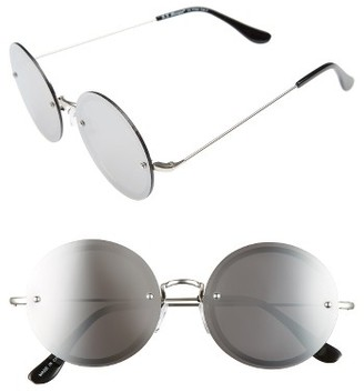 Women's A.j. Morgan 56Mm Rimless Round Sunglasses - Silver / Silver Mirror $24 thestylecure.com