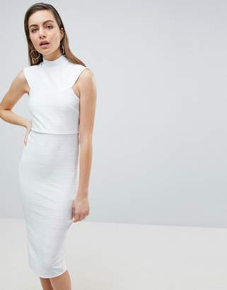 Asos DESIGN High Neck Bandage Bodycon Midi Dress