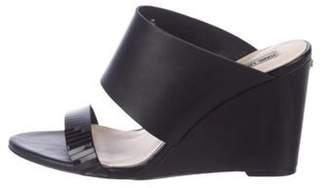 Karl Lagerfeld Paris Leather Peep-Toe Wedge Sandals Black Leather Peep-Toe Wedge Sandals