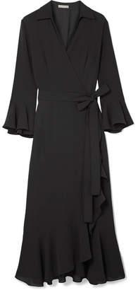 Michael Kors Ruffled Silk-georgette Wrap Dress - Black