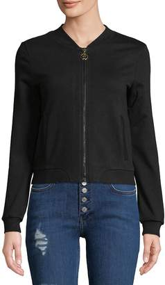 Roberto Cavalli Women's Embroidered Full Zip Cotton Hoodie