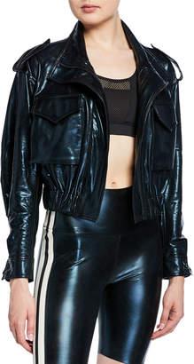 Norma Kamali Cropped Metallic Turtle Utility Jacket