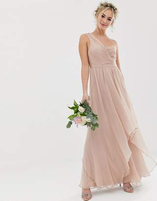 Asos Design DESIGN Bridesmaid soft layer maxi dress with one shoulder pleated bodice