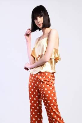 Glamorous Womens **Metallic Layered Cami Top By Gold