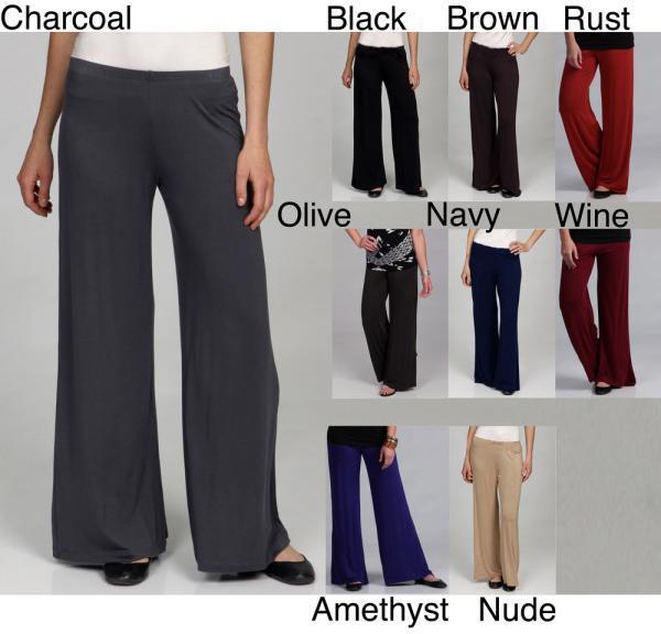 24-7 comfort apparel 24/7 Comfort Apparel Women's Palazzo Wide-leg Pants