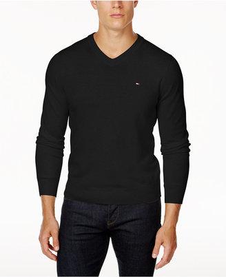Tommy Hilfiger Men's Signature Solid V-Neck Sweater $49.98 thestylecure.com