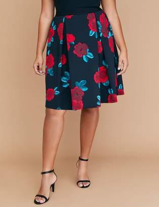 Lane Bryant Printed Scuba Midi Skirt