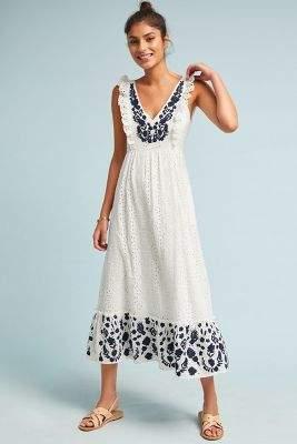 Anthropologie Embroidered Eyelet Midi Dress