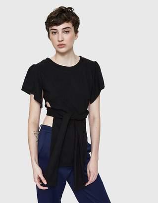 Stelen Wrap Tie Knit Shirt in Black