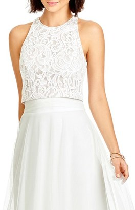 Women's Dessy Collection Lace Halter Style Crop Top $90 thestylecure.com