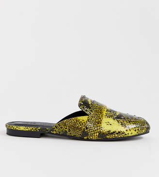 Asos Design DESIGN Wide Fit Vocal studded mules in neon snake print