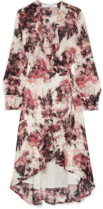 IRO Ruffle-trimmed Floral-print Georgette Wrap Dress