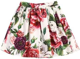 Dolce & Gabbana Rose Printed Cotton Poplin Skirt