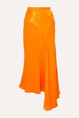 House of Holland Asymmetric Hammered-satin Skirt - Orange