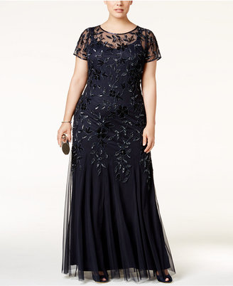 Adrianna Papell Plus Size Floral-Beaded Gown $379 thestylecure.com