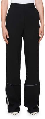 Proenza Schouler High-Waist Wide-Leg Pants with Stitching Detail