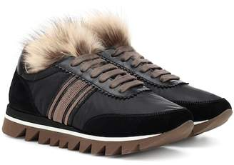 Brunello Cucinelli Fur-trimmed leather sneakers
