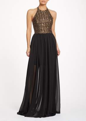Dress the Population Farah Sequin Bodice Halter Dress