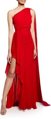 Elie Saab One-Shoulder Scarf-Back Silk Gown