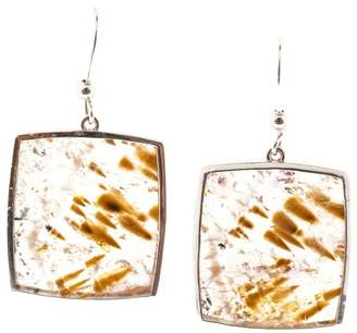 18K White Gold & 34.96ct Quartz with Cacoxenite and Iron Inclusions Earrings