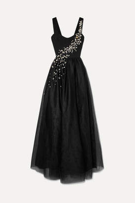 Prada Crystal-embellished Silk And Tulle Gown - Black