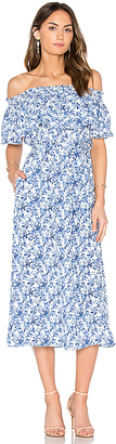 Rebecca Taylor Off Shoulder Aimee Dress in Blue $475 thestylecure.com