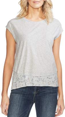 Vince Camuto Double Layer Mixed Media Top