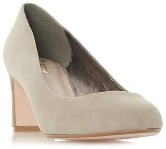 Dune Taupe Suede 'Wf Addena' High Block Heel Wide Fit Court Shoes