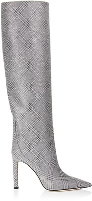 Jimmy Choo MAVIS 100 Silver Prince of Stars Glitter Knee High Boots