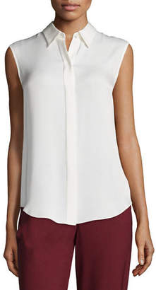 Theory Tanelis Sleeveless Silk Blouse $225 thestylecure.com